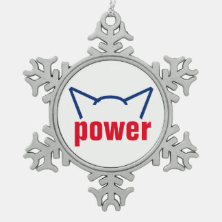 Subtle Pussy Power Cat Ears Resistance White Red Snowflake Pewter Christmas Ornament