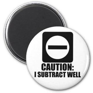 Subtract 1 Black 6 Cm Round Magnet