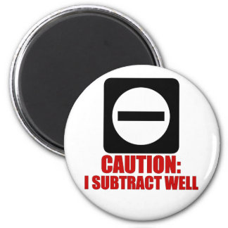 Subtraction 1 Red 6 Cm Round Magnet