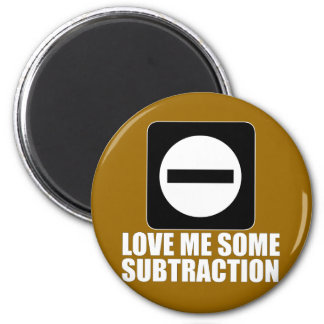 Subtraction 2 White 6 Cm Round Magnet
