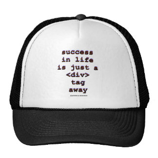 Success In Life Is Just A <Div> Tag Away (Humor) Hats