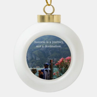 Success Is a Journey Ceramic Ball Christmas Ornament