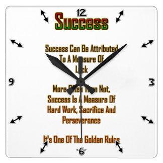 Success Square Wall Clock