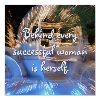 """""""Successful Woman"""" Quote Sparkly Gold Coach Photo Poster"""