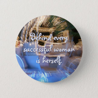 """Successful woman"" quote sparkly gold photo button"