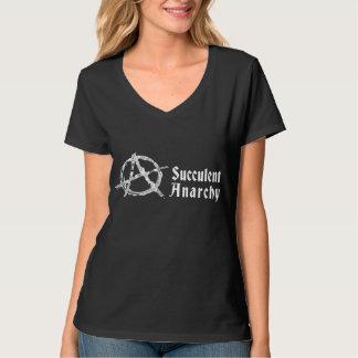 Succulent Anarchy Women's V-neck Black T-shirt