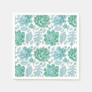 Succulent and leaf pattern paper napkins 3717