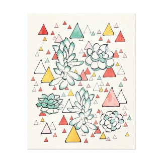 Succulent and triangles Canvas Prints