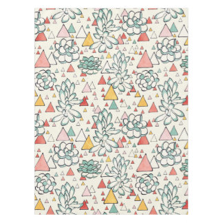 Succulent and triangles Cotton Tablecloth