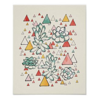 Succulent and triangles Poster