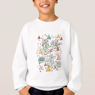 Succulent and triangles seamless pattern sweatshirt
