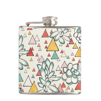 Succulent and triangles Vinyl Wrapped Flask