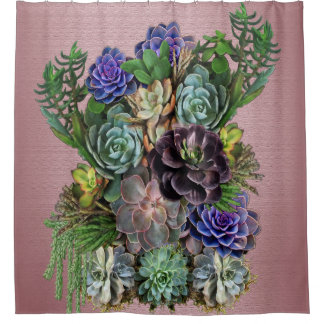 Succulent Art Shower Curtain