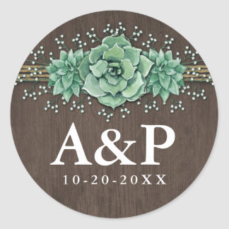 Succulent Baby's Breath Rustic Wedding Favors Classic Round Sticker