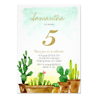 Succulent Birthday Party Invitation