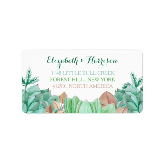 Succulent Bouquet Botanical Floral Wedding Address Label