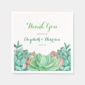 Succulent Bouquet Botanical Floral Wedding Paper Serviettes