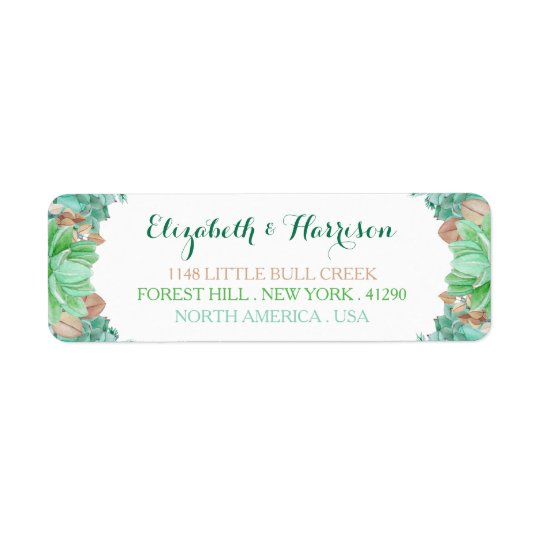 Succulent Bouquet Botanical Floral Wedding Return Address Label