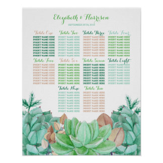 Succulent Bouquet Botanical Floral Wedding Seating Poster