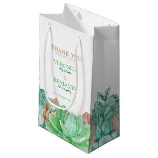 Succulent Bouquet Botanical Floral Wedding Small Gift Bag
