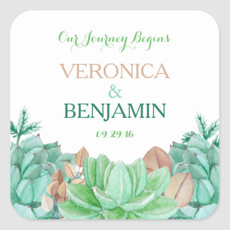 Succulent Bouquet Botanical Floral Wedding Thanks Square Sticker
