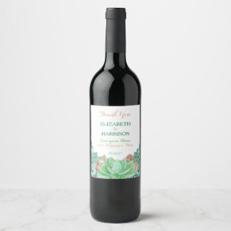 Succulent Bouquet Botanical Floral Wedding Wine Label