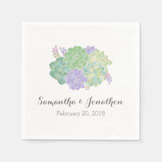 Succulent Bouquet Elegant Wedding Disposable Serviette
