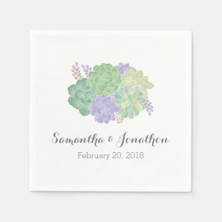 Succulent Bouquet Elegant Wedding Paper Serviettes