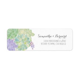 Succulent Bouquet Elegant Wedding Return Address Label