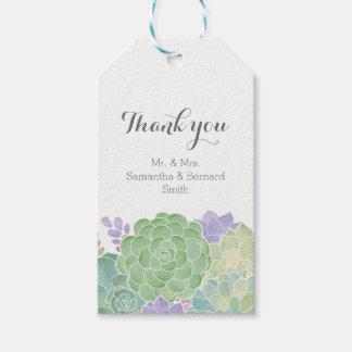 Succulent Bouquet Elegant Wedding Thank You Tag