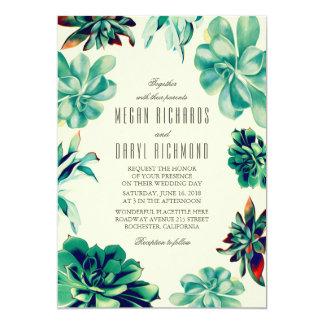 Succulent Bouquet - Floral Teal Wedding 13 Cm X 18 Cm Invitation Card