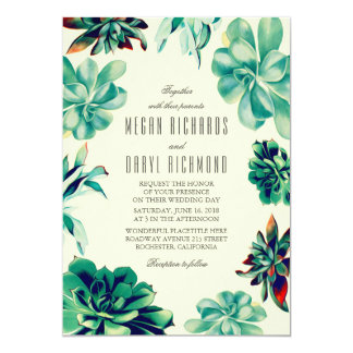 Succulent Bouquet - Floral Teal Wedding Card