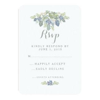 Succulent Bouquet Floral Wedding RSVP Response 9 Cm X 13 Cm Invitation Card