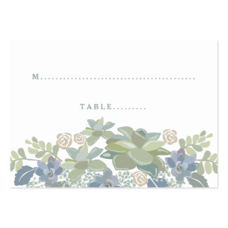 Succulent Bouquet Floral Wedding Seating Card Pack Of Chubby Business Cards
