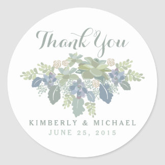Succulent Bouquet Floral Wedding Thank You Sticker