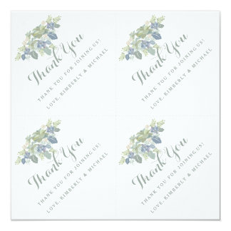 """Succulent Bouquet Personalized Thank You Favor Tag 5.25"""" Square Invitation Card"""
