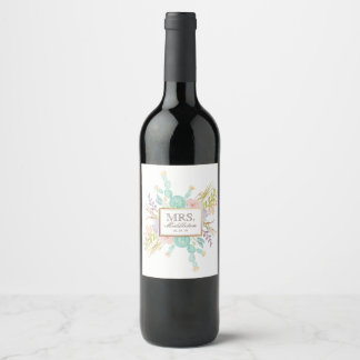 Succulent Bouquet Watercolor | Custom Name Wine Label