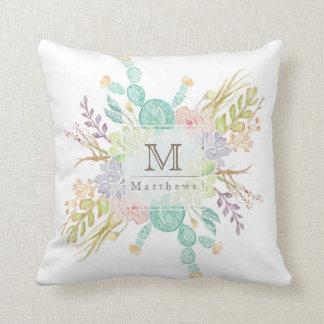 Succulent Bouquet Watercolor   Initial Cushion