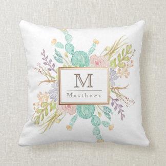 Succulent Bouquet Watercolor | Initial Throw Pillow