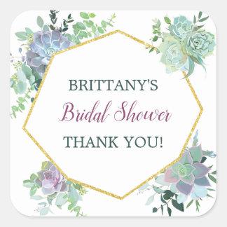Succulent Bridal Shower Favor Sticker