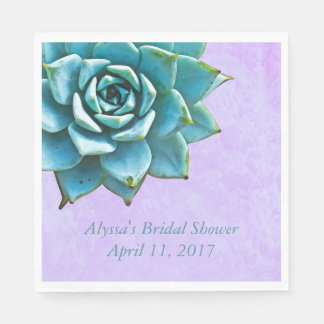 Succulent Bridal Shower Watercolor Lavender Lace Paper Serviettes