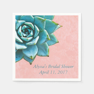 Succulent Bridal Shower Watercolor Pink Lace Disposable Serviettes