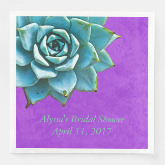 Succulent Bridal Shower Watercolor Purple Lace Paper Napkins