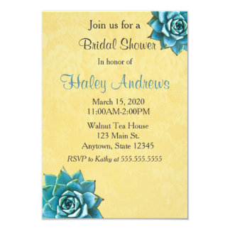 Succulent Bridal Shower Watercolor Yellow Lace Card