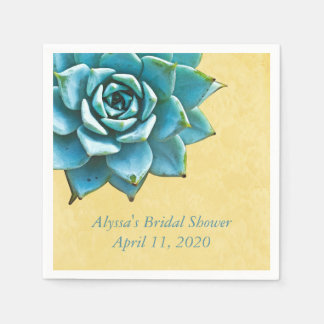Succulent Bridal Shower Watercolor Yellow Lace Paper Serviettes