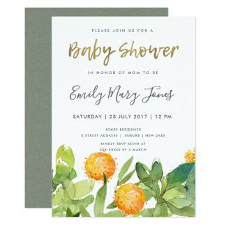 SUCCULENT CACTUS FLORAL WATERCOLOR BABY SHOWER CARD