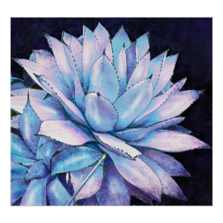 succulent cactus in shades of blue and purple posters