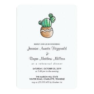 Succulent Cactus Rustic Minimal Rehearsal Dinner Card
