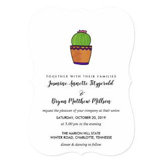 Succulent Cactus Rustic Minimal Wedding Card