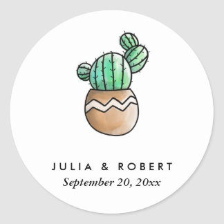 Succulent Cactus Rustic Minimal Wedding Classic Round Sticker